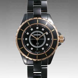 size 40 3229f 6f997 偽物CHANELシャネル時計 スーパーコピーJ12 セラミック/ピンクゴールド33 H2543